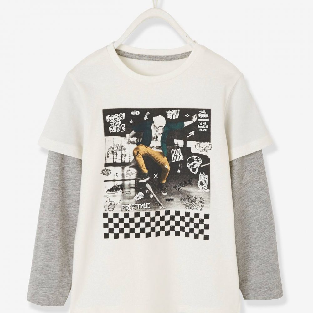 2-in-1 Effect Top with Skateboard Motif for Boys white light solid with design
