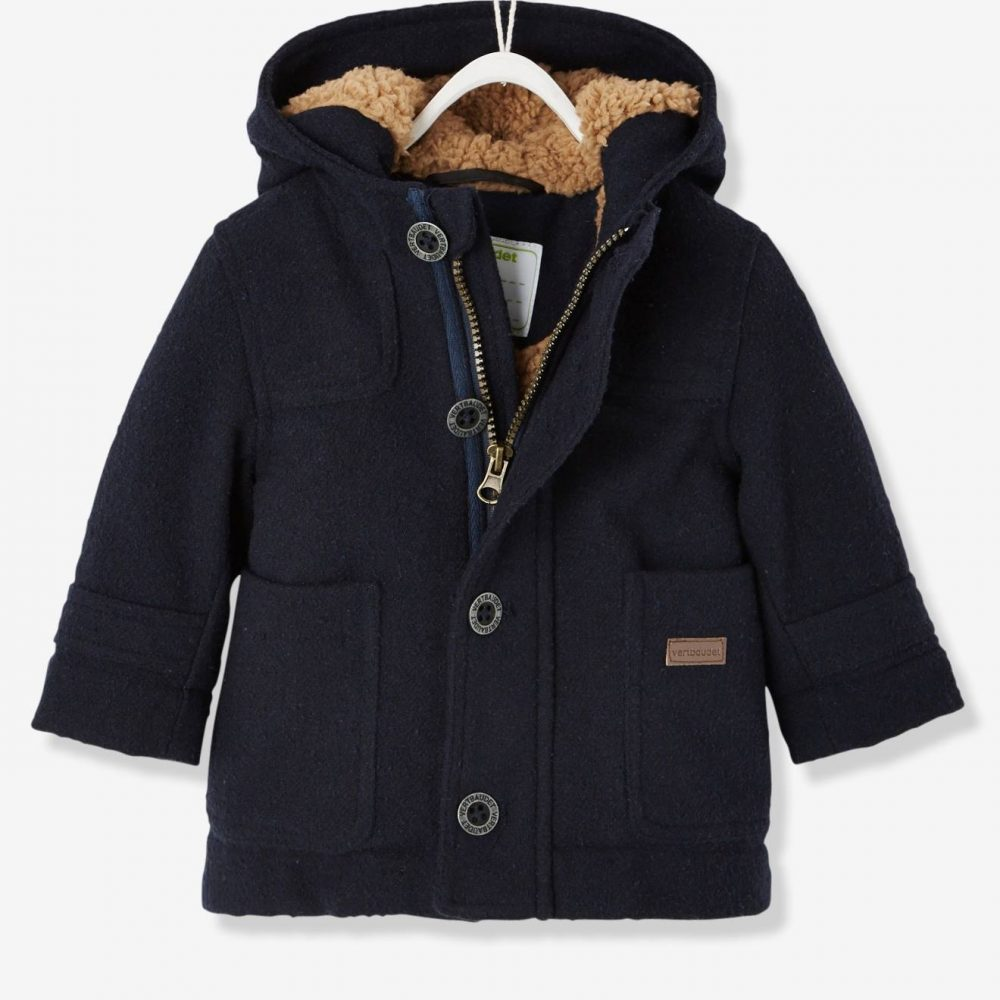 Baby Boys' Padded Duffle Coat with Warm Lining blue dark solid