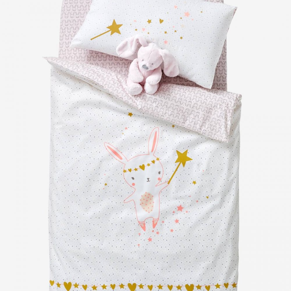 Baby Duvet Cover, Magic Theme pink light all over printed