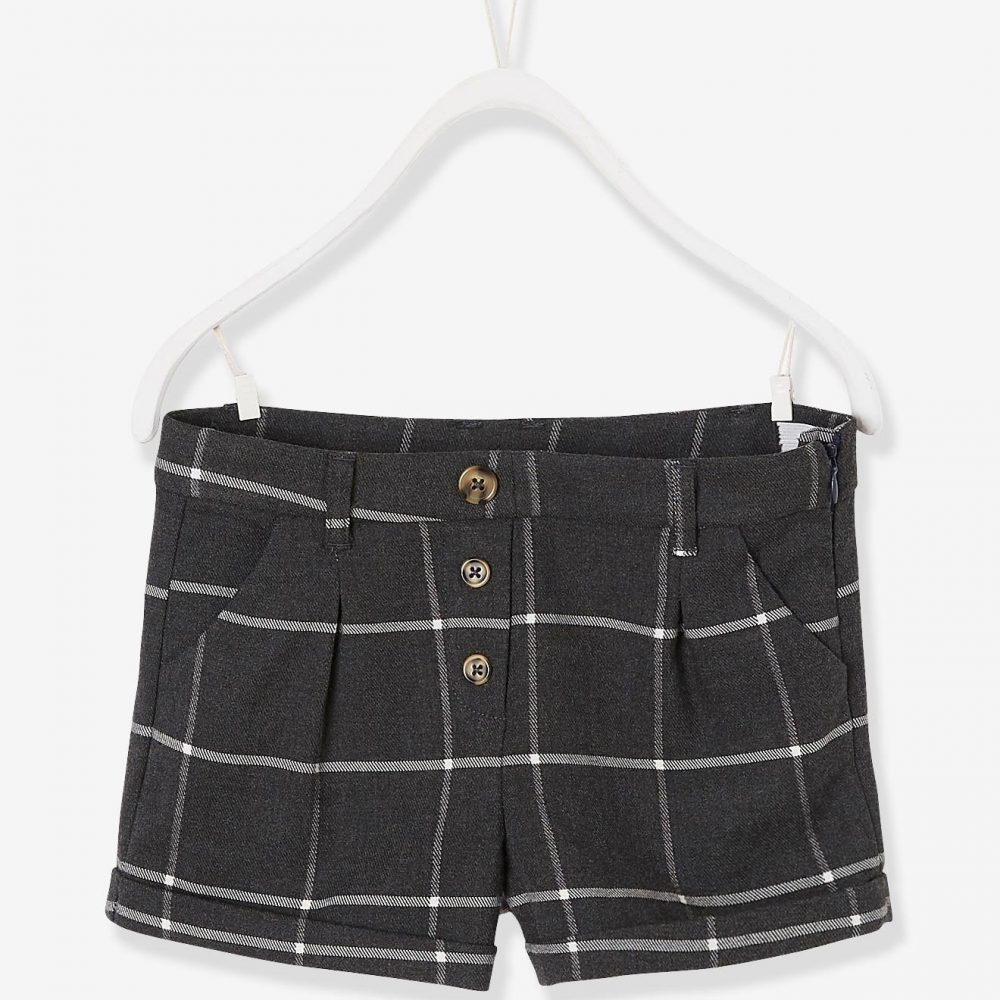 Checked Shorts for Girls grey dark checks