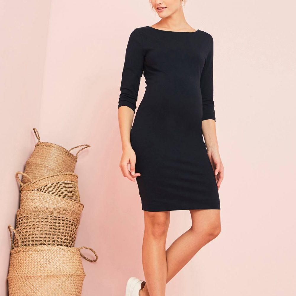 Close-Fitting Maternity Dress black dark solid