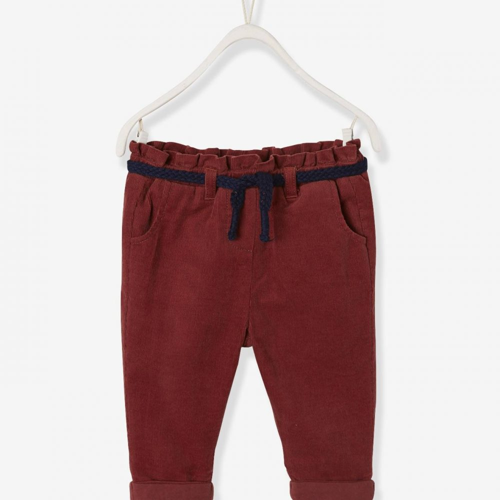 Corduroy Trousers for Baby Girls, Lined brown medium solid