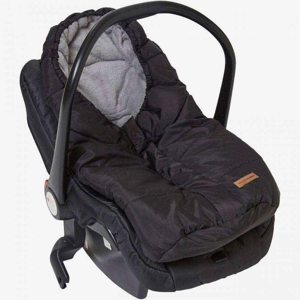 Fleece-Lined & Padded Car Seat Footmuff black medium solid