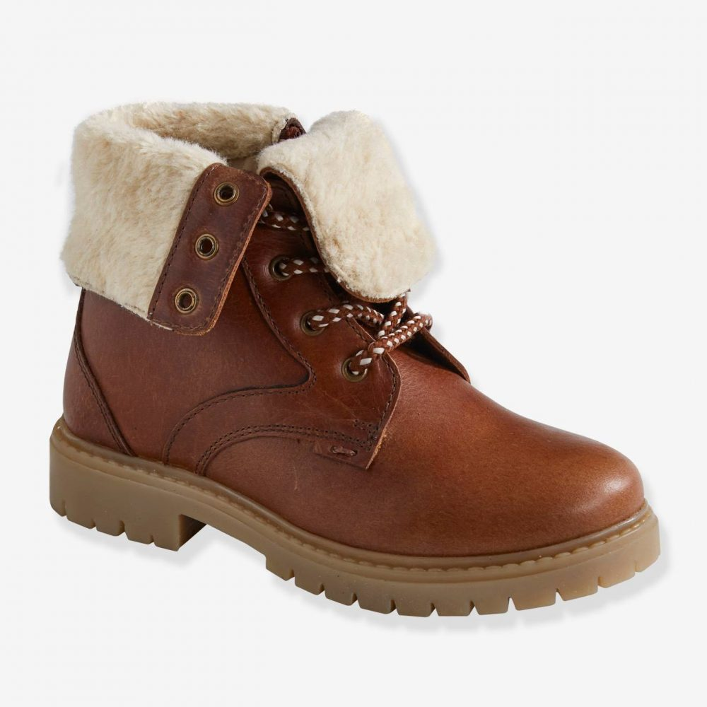 Leather Boots with Faux Fur Turndown Top, for Boys brown dark solid