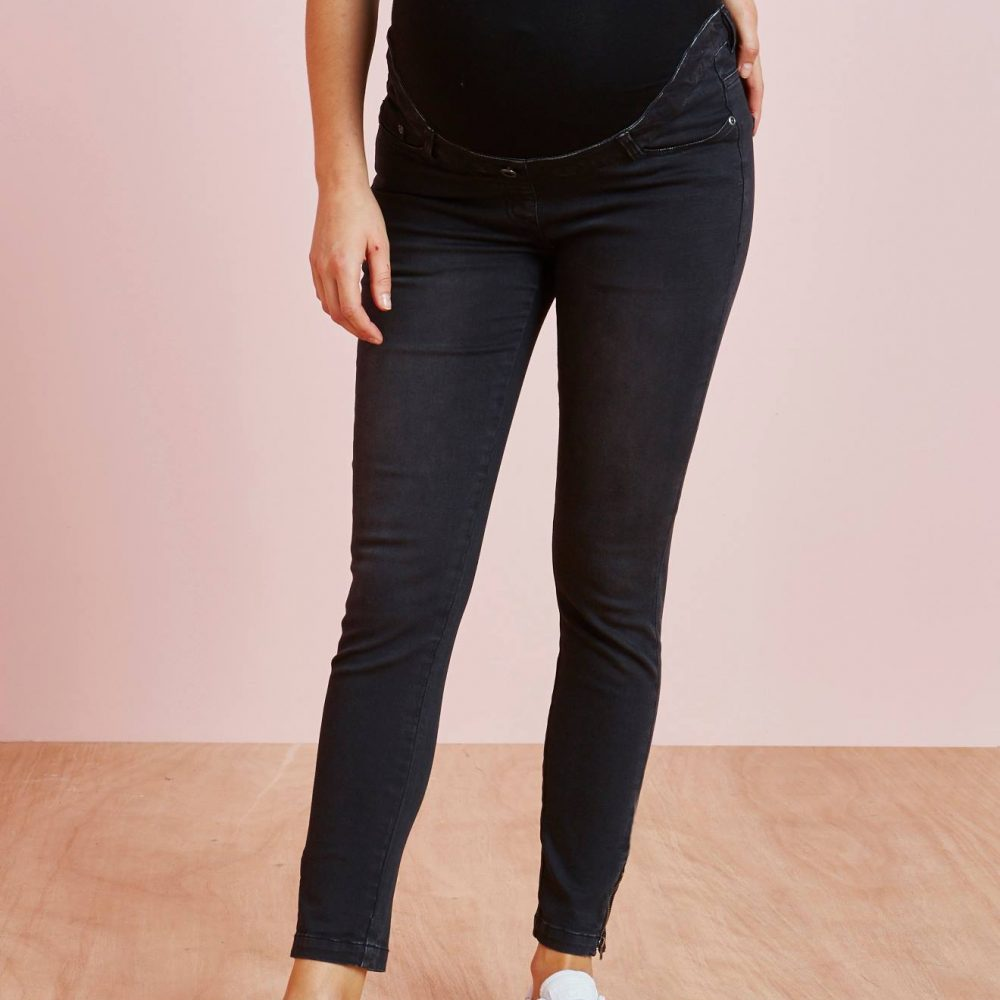 Maternity 7/8 Slim Leg Jeans black dark solid
