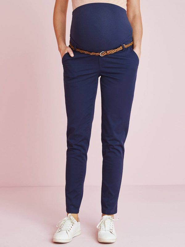 Maternity Chino Trousers, Inside Leg 32 cm blue dark solid with design