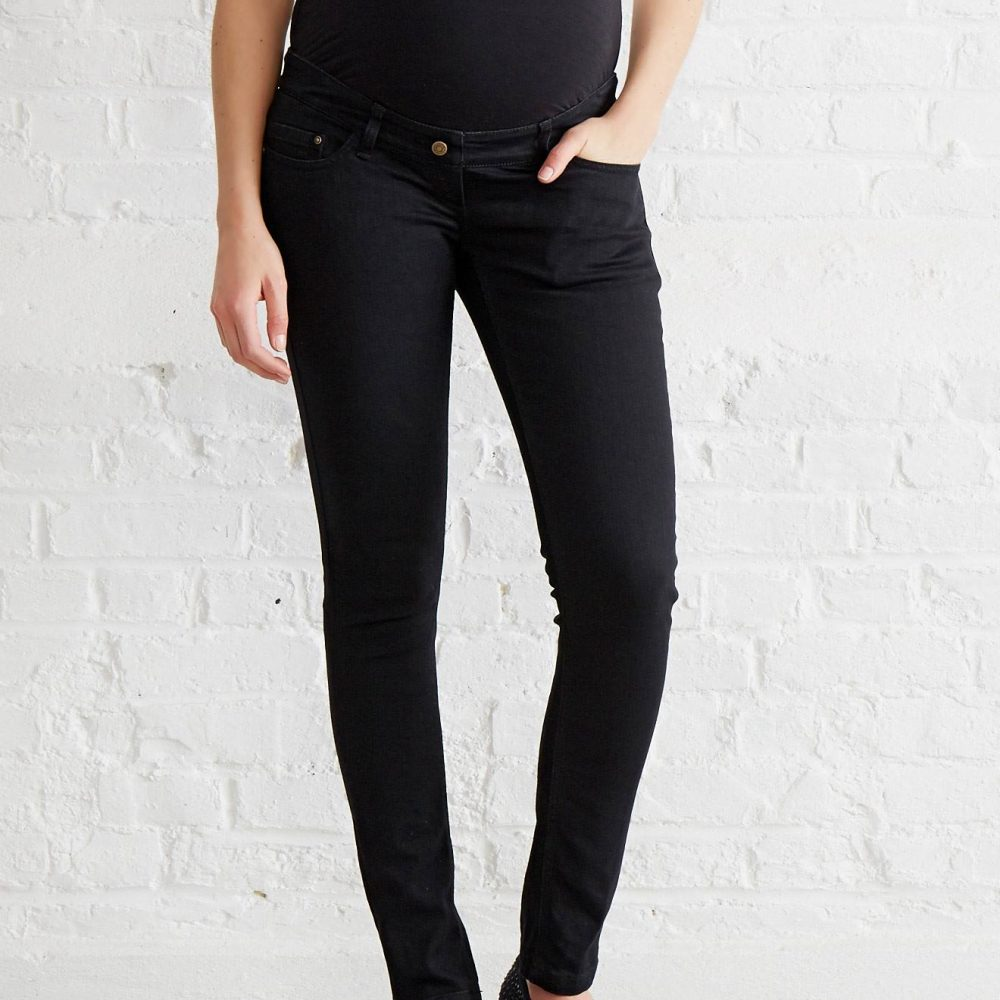 "Maternity Slim Strech Jeans - Inside Leg 33"" black dark solid"