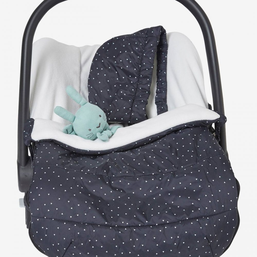 Padded Footmuff with Fleece Lining, for Car Seat black dark all over printed
