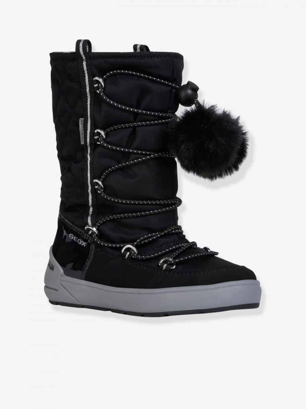 J Sleigh Girl B Abx Boots for Girls, by GEOX® black dark solid
