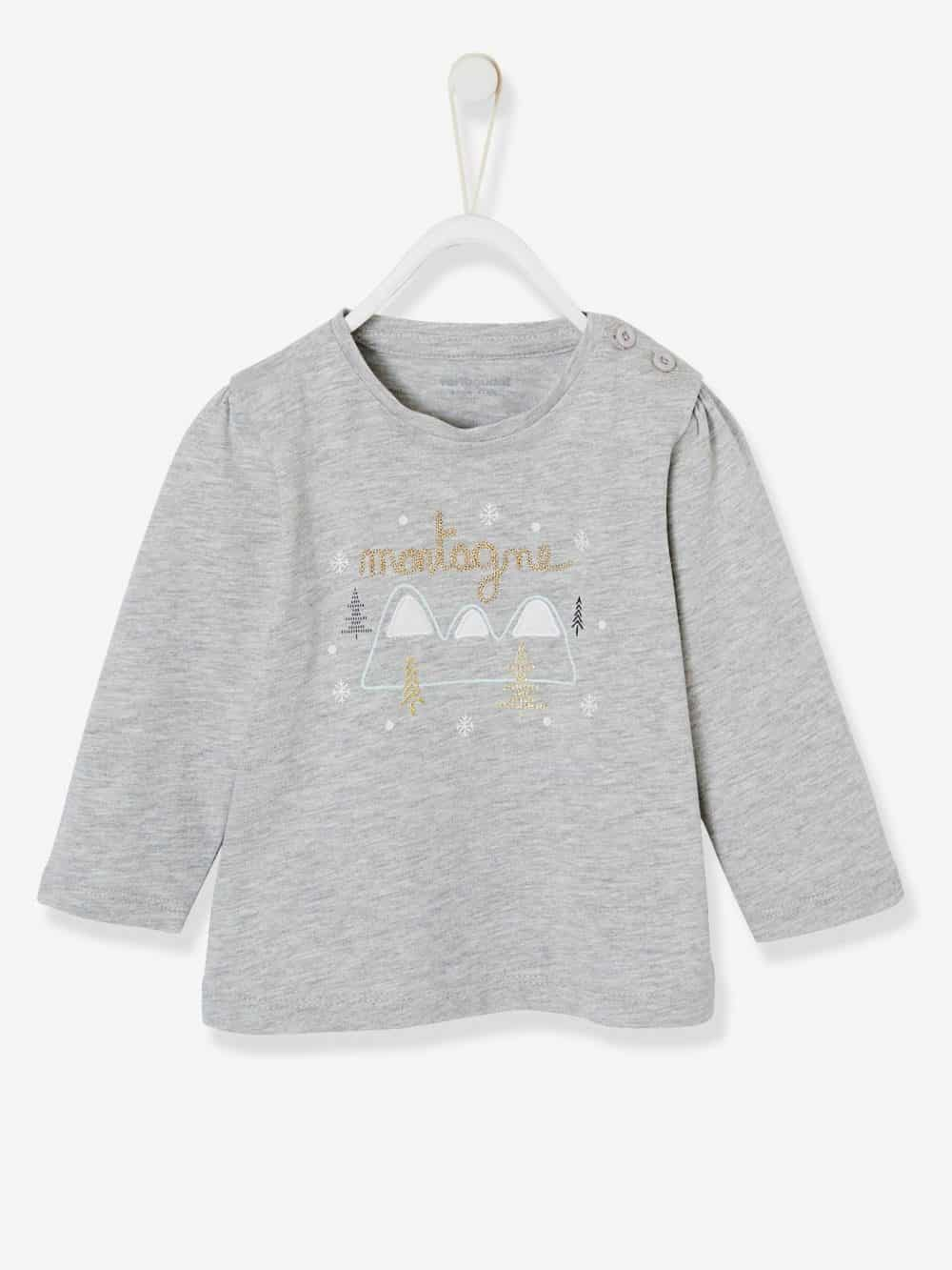 Stylish Top for Baby Girls grey light mixed color
