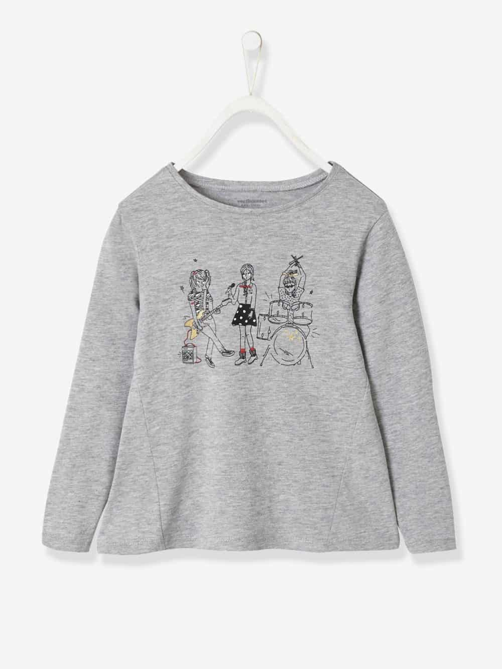 Top with Rock & Chic Motif + Iridescent Details, for Girls grey medium mixed color