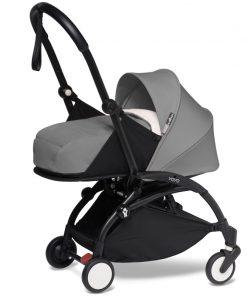 BABYZEN YOYO 2 Black Frame Newborn Package-Sherpa Grey (New)