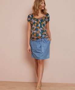 Denim Maternity Skirt with Belt blue medium wasched