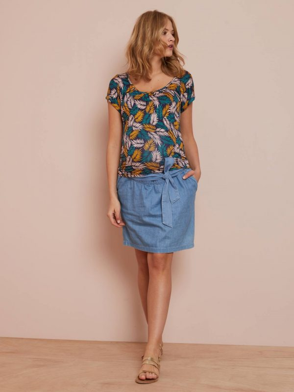 Denim Maternity Skirt with Belt blue medium wasched