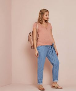 Extra Volume Paperbag Jeans with Belt, for Maternity blue medium wasched