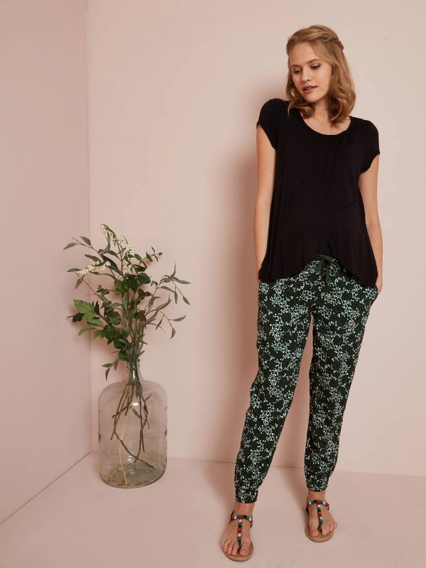 Floral Print Viscose Trousers for Maternity green dark all over printed