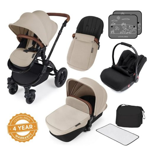 Ickle Bubba Stomp V3 Black Frame All-in-one Travel System-Sand