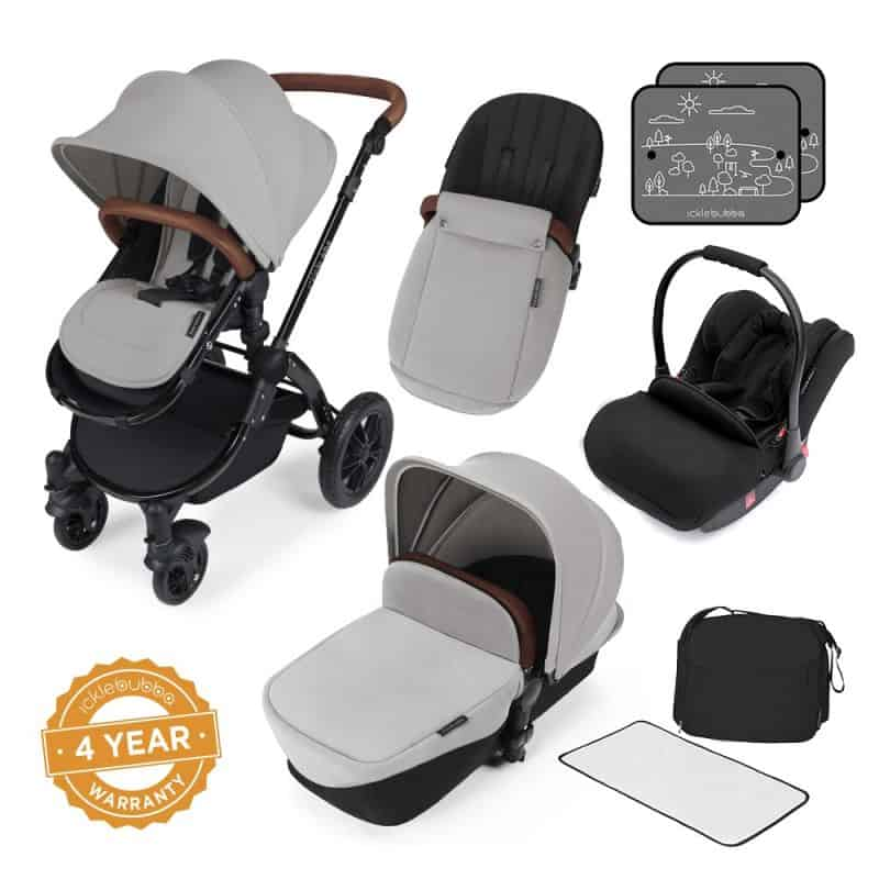 Ickle Bubba Stomp V3 Black Frame All-in-one Travel System-Silver