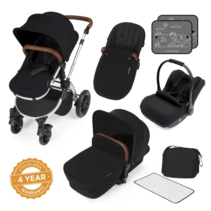 Ickle Bubba Stomp V3 Silver Frame All-in-one Travel System-Black