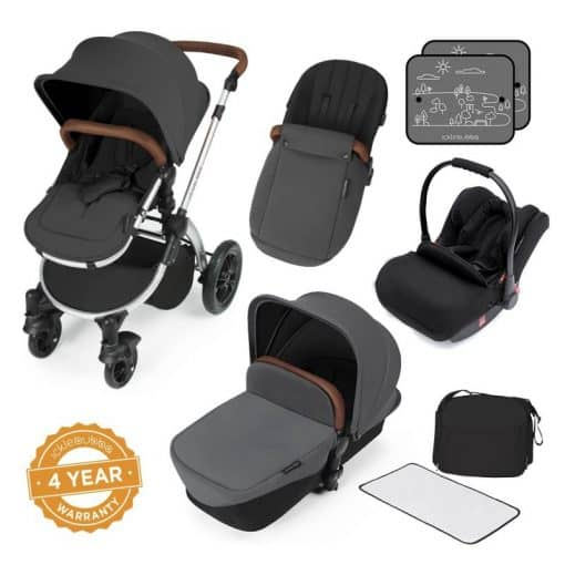Ickle Bubba Stomp V3 Silver Frame All-in-one Travel System-Graphite Grey