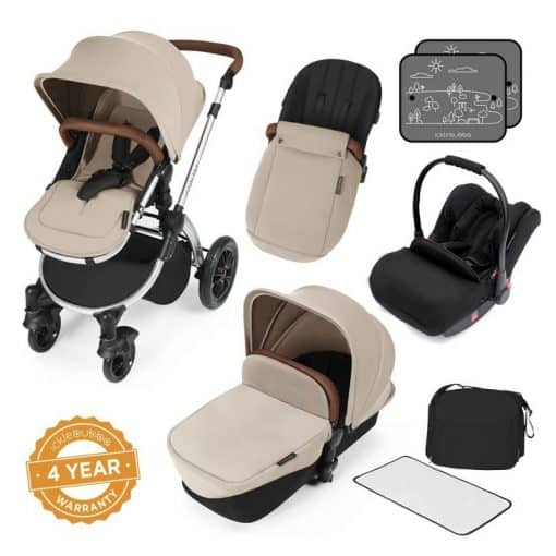 Ickle Bubba Stomp V3 Silver Frame All-in-one Travel System-Sand