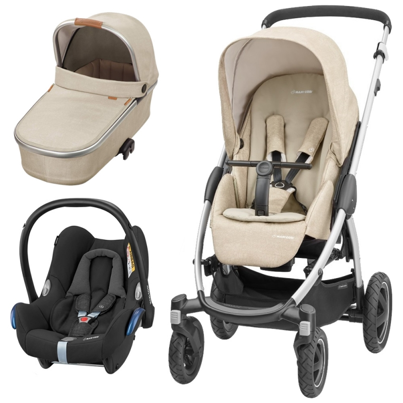 Maxi Cosi Stella 3in1 Cabriofix Travel System With Black Carseat & Matching Carrycot-Nomad Sand