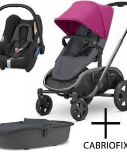 Quinny Hubb Graphite Frame 3in1 Travel System-Pink/Graphite