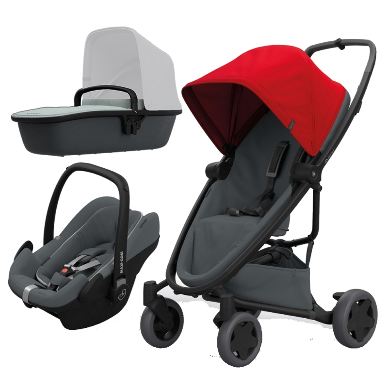 Quinny Zapp Flex Plus 3in1 Travel System-Red on Graphite (NEW 2019)