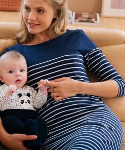 Sailor-Style Adaptable Maternity & Nursing Dress blue dark striped