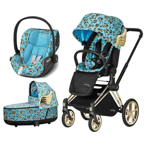 Cybex Priam Jeremy Scott Edition Gold Chassis 3in1 Travel System-Cherub Blue
