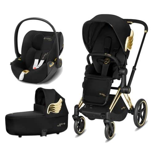 Cybex Priam Jeremy Scott Edition Gold Chassis 3in1 Travel System-Wings/Black