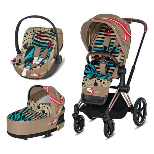 Cybex Priam Karolina Kurkova Edition Rose Gold Chassis 3in1 Travel System-One love/Brown