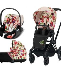Cybex Priam Spring Blossom Edition Black Chassis 3in1 Travel System-Light