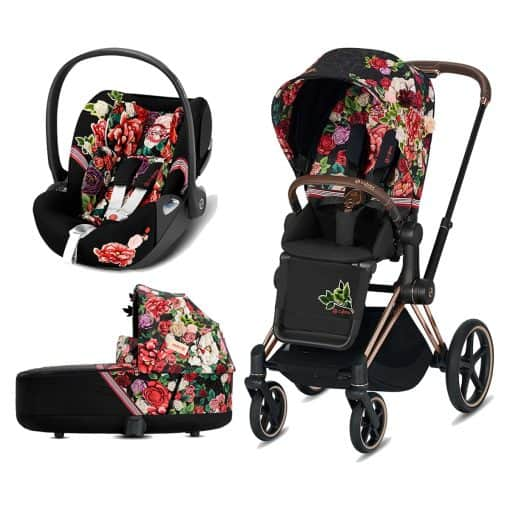 Cybex Priam Spring Blossom Edition Rose Gold Chassis 3in1 Travel System-Dark