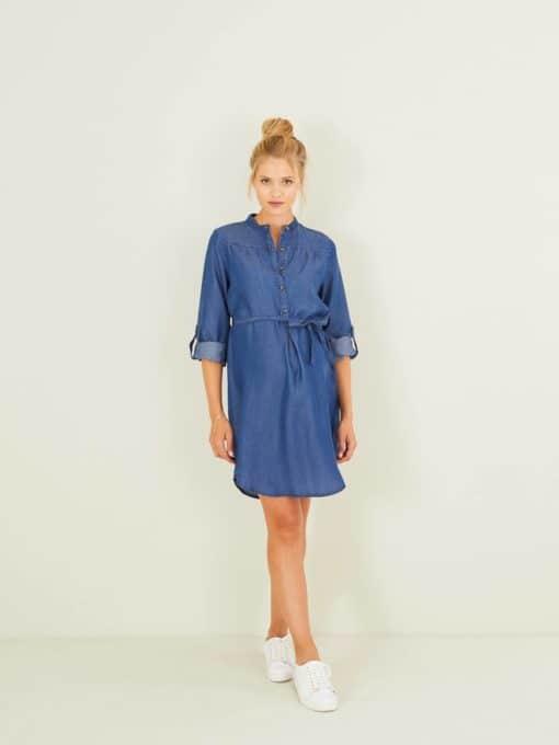 Maternity Dress in Lightweight Denim blue dark wasched