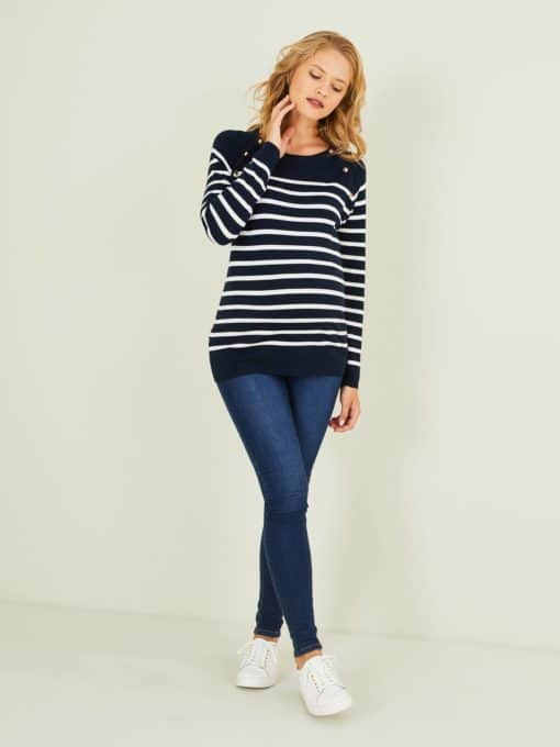Sailor-Type Top, Maternity & Nursing Special blue dark striped