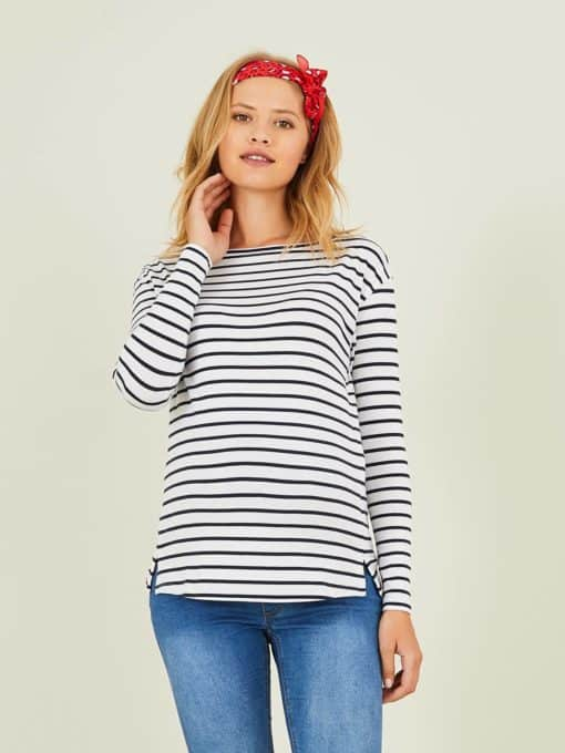 Sailor-Type Top, Maternity & Nursing Special red medium striped