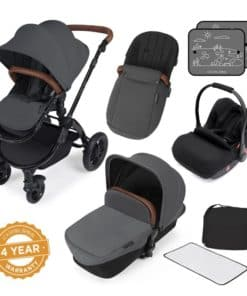 Ickle Bubba Stomp V3 Black Frame 3in1 Travel System-Graphite Grey