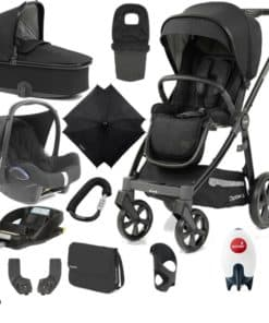 BabyStyle Oyster 3 Black Finish Ultimate Cabrio Travel System-Noir