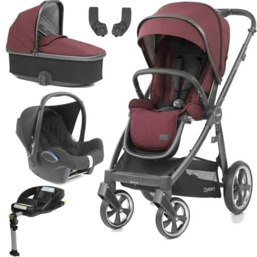 BabyStyle Oyster 3 City Grey Finish Essential Cabrio Travel System-Berry