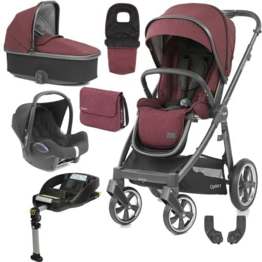 BabyStyle Oyster 3 City Grey Finish Luxury Cabrio Travel System-Berry