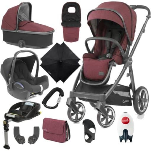 BabyStyle Oyster 3 City Grey Finish Ultimate Cabrio Travel System-Berry