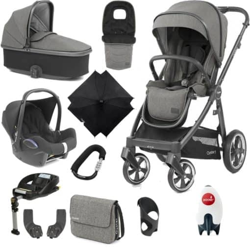 BabyStyle Oyster 3 City Grey Finish Ultimate Cabrio Travel System-Mercury