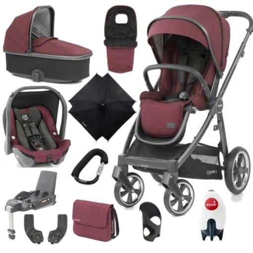 BabyStyle Oyster 3 City Grey Finish Ultimate Capsule Travel System-Berry