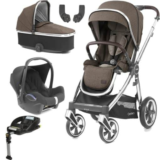 BabyStyle Oyster 3 Mirror Finish Essential Cabrio Travel System-Truffle