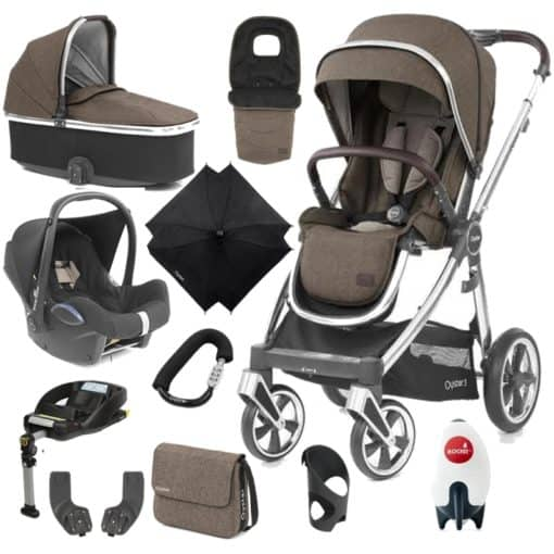 BabyStyle Oyster 3 Mirror Finish Ultimate Cabrio Travel System-Truffle