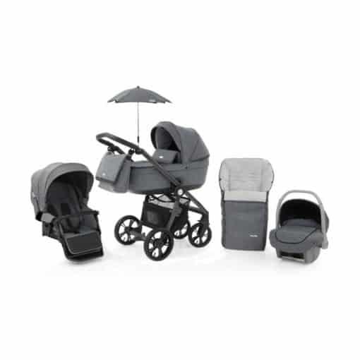 BabyStyle Prestige 3 3in1 Travel System Grey Frame/Black-Misty Grey