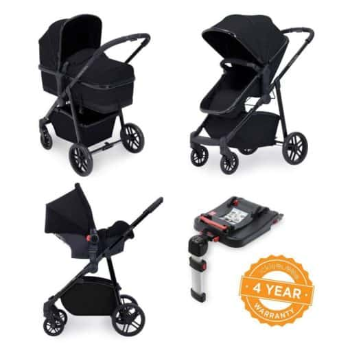 Ickle Bubba Moon 3-In-One Travel System with Galaxy Carseat & Isofix Base-Black