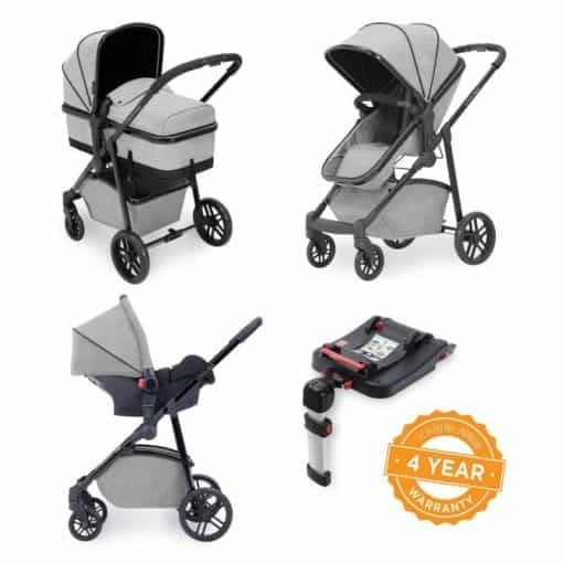 Ickle Bubba Moon 3-In-One Travel System with Galaxy Carseat & Isofix Base-Silver Grey