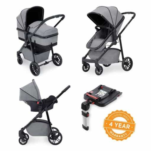 Ickle Bubba Moon 3-In-One Travel System with Galaxy Carseat & Isofix Base-Space Grey